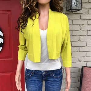 Lime cropped open cardigan